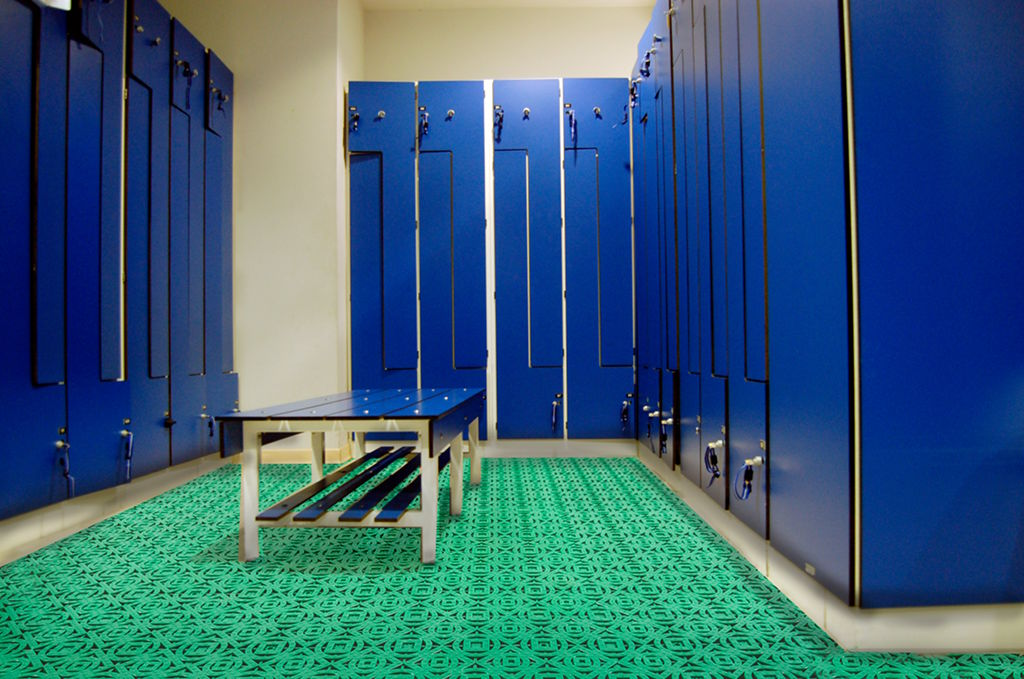Plastic tiles for use in changing rooms, gyms and common spaces