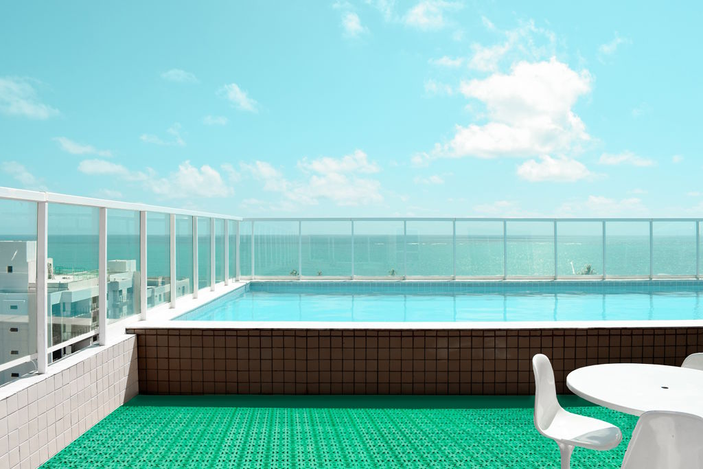 Outdoor tile suitable for spaces with swimming pool